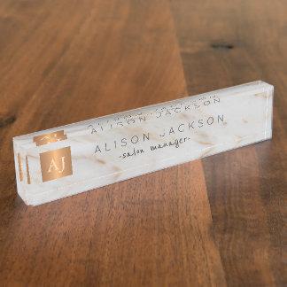 Grey marble gold steel copper metallic monogram nameplate