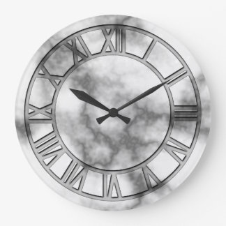 Grey Marble Print Wall Clock