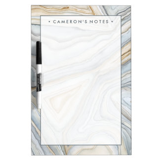 Grey Marbled Abstract Design Dry Erase Board