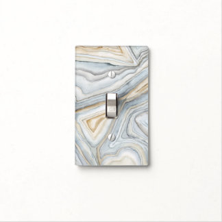 Grey Marbled Abstract Design Light Switch Cover