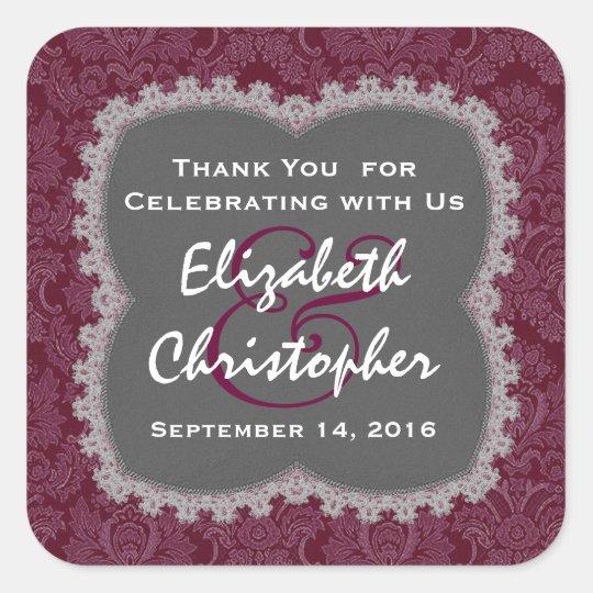 Grey Maroon Damask Wedding Thank You Wedding R354N Square Sticker