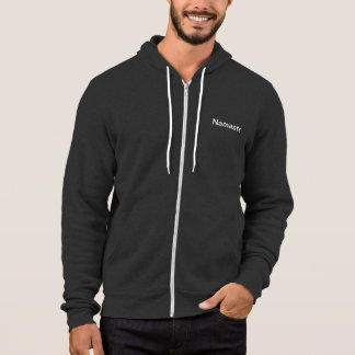 GREY MENS ZIPPERED HOODIE WITH WHITE OM & NAMASTE