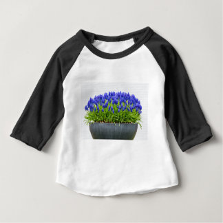 Grey metal flower box with blue grape hyacinths baby T-Shirt
