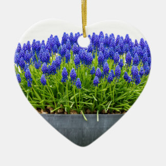 Grey metal flower box with blue grape hyacinths ceramic heart ornament