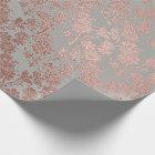 Grey Metal Pink Rose Gold Powder Faux Blush Floral Wrapping Paper