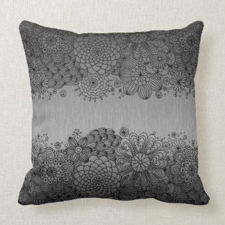 Grey Metallic Background Black Lace Accent Throw Pillow