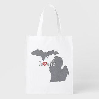 Grey MICHIGAN Home & Open Heart Grocery Bag