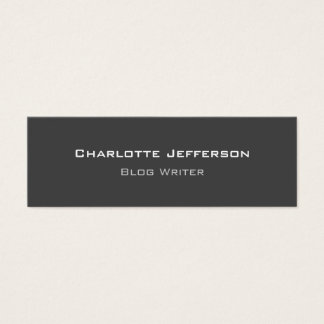 Grey Minimalist Blog Writer Internet Web Designer Mini Business Card