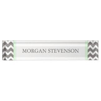 Grey Mint Chevron Desk Nameplate