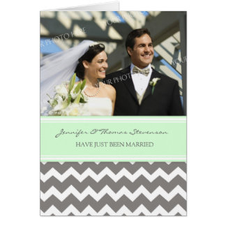 Grey Mint Chevron Just Married Photo Announcement