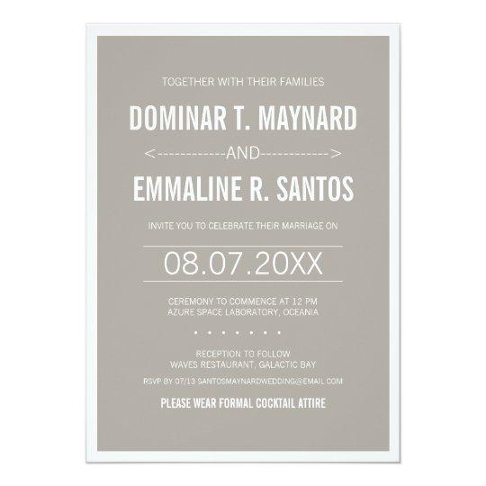 Grey Modern Minimalist Wedding Invitation