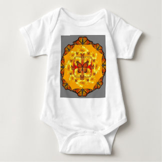 GREY MONARCH BUTTERFLY & YELLOW SUNFLOWERS BABY BODYSUIT
