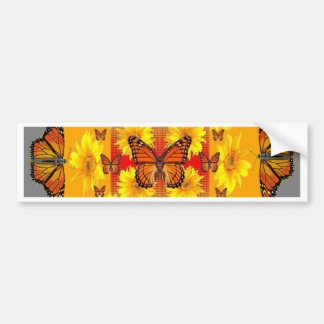 GREY MONARCH BUTTERFLY & YELLOW SUNFLOWERS BUMPER STICKER
