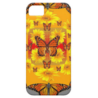 GREY MONARCH BUTTERFLY & YELLOW SUNFLOWERS iPhone 5 CASE