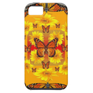 GREY MONARCH BUTTERFLY & YELLOW SUNFLOWERS iPhone 5 COVER