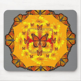 GREY MONARCH BUTTERFLY & YELLOW SUNFLOWERS MOUSE PAD