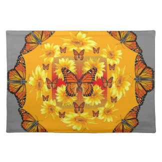 GREY MONARCH BUTTERFLY & YELLOW SUNFLOWERS PLACEMAT