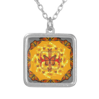 GREY MONARCH BUTTERFLY & YELLOW SUNFLOWERS SILVER PLATED NECKLACE