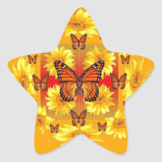 GREY MONARCH BUTTERFLY & YELLOW SUNFLOWERS STAR STICKER