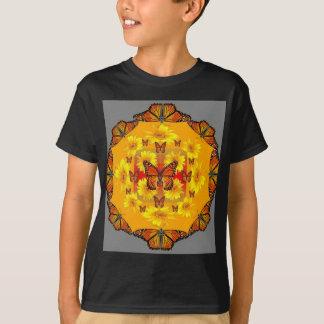 GREY MONARCH BUTTERFLY & YELLOW SUNFLOWERS T-Shirt
