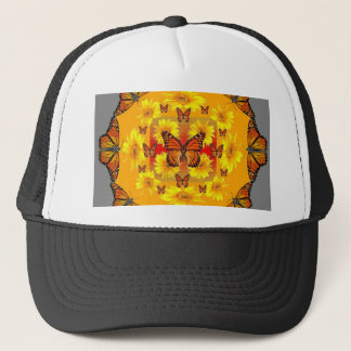 GREY MONARCH BUTTERFLY & YELLOW SUNFLOWERS TRUCKER HAT