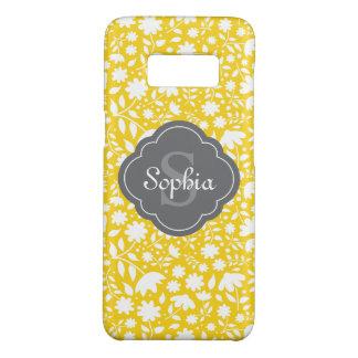 Grey Monogram Quatrefoil Yellow Floral Pattern Case-Mate Samsung Galaxy S8 Case