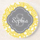 Grey Monogram Quatrefoil Yellow Floral Pattern Coaster