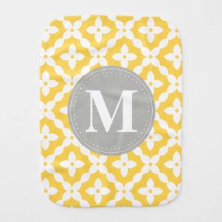 Grey Monogram Yellow Floral Pattern Pillow Burp Cloth