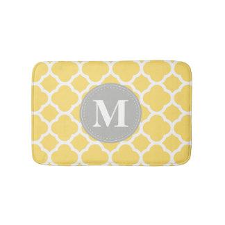 Grey Monogram Yellow Quatrefoil Pattern Bathroom Mat
