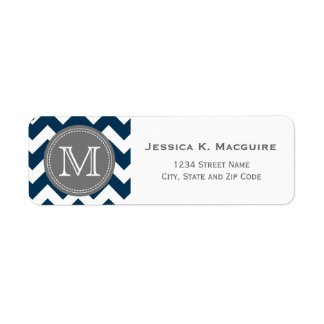 Grey Monogrammed Navy Blue Chevron Return Address Label