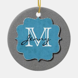 Grey Monogrammed Ornaments