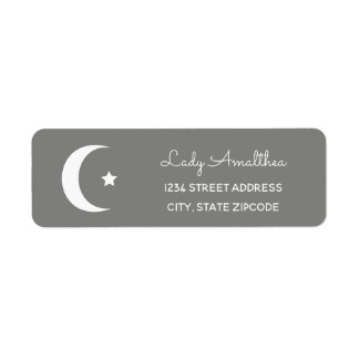 Grey Moon And Star Address Label