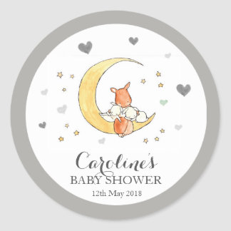 Grey Moon Love Blue Baby Shower Sticker Classic Round Sticker