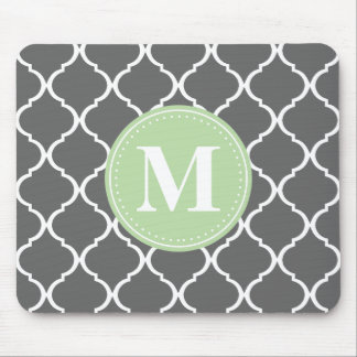 Grey Moroccan Lattice Mint Monogram Mouse Pad