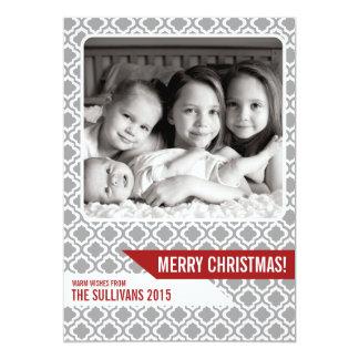 "Grey Moroccan Pattern Modern Christmas Photo Card 5"" X 7"" Invitation Card"
