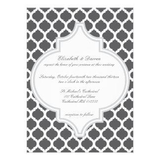 Grey Moroccan Pattern Wedding Invitations