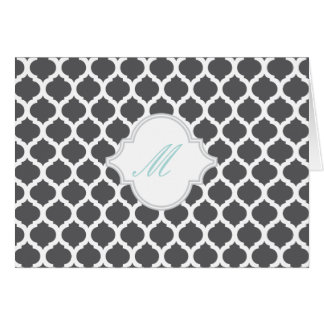 Grey Moroccan Pattern with Monogram Note Cards