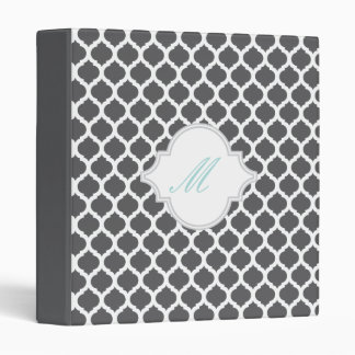 Grey Moroccan Pattern with Monogram Photo Binders