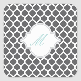 Grey Moroccan Pattern with Monogram Stickers