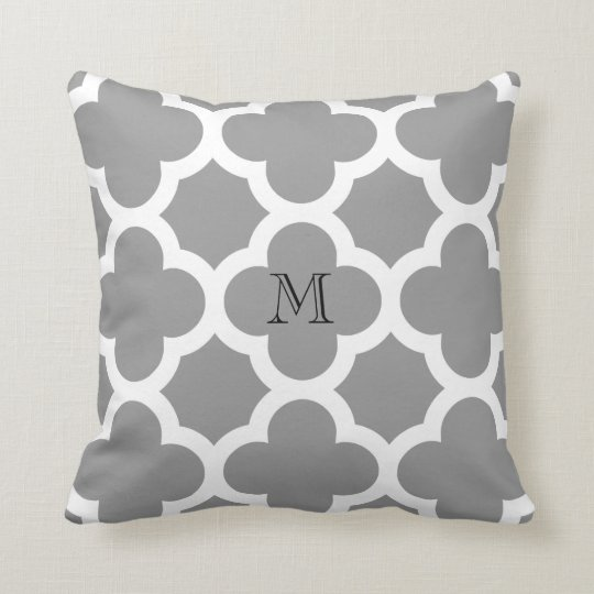 Grey Moroccan quatrefoil pattern monogram Throw Pillow