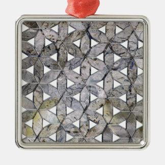 Grey mosaic Silver-Colored square ornament