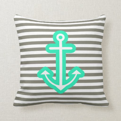 Grey Nautical Mint Anchor Pillows
