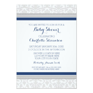 Grey Navy Blue Custom Baby Shower Invitations