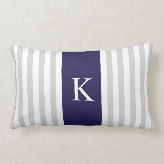 Grey Navy Blue Stripes Monogram Lumbar Pillow