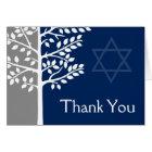 Grey Navy Blue Tree of Life Bar Mitzvah Thank You Card