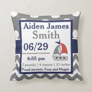 Grey Navy Sailboat Boat Birth Announcement Pillow