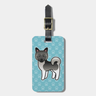 Grey Norwegian Elkhound Cartoon Dog Luggage Tag