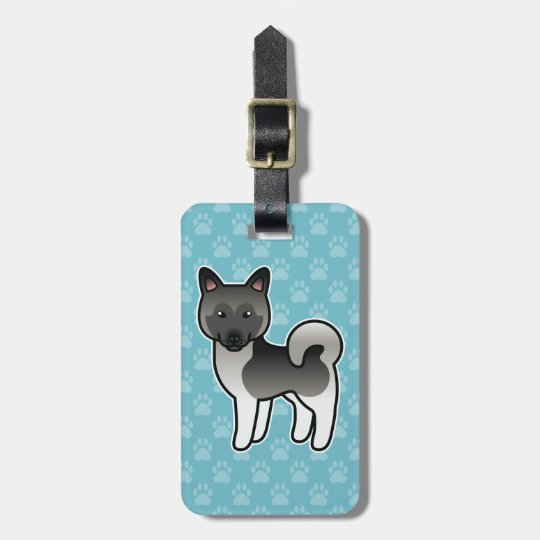 Grey Norwegian Elkhound Cartoon Dog Luggage Tag