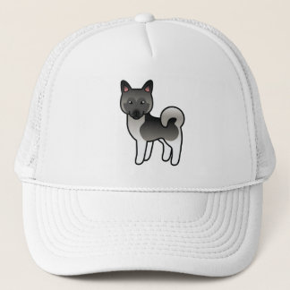 Grey Norwegian Elkhound Cartoon Dog Trucker Hat