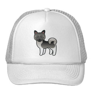 Grey Norwegian Elkhound Cartoon Dog Trucker Hat